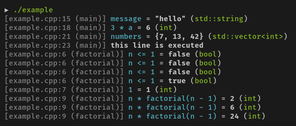 dbg(…) macro output