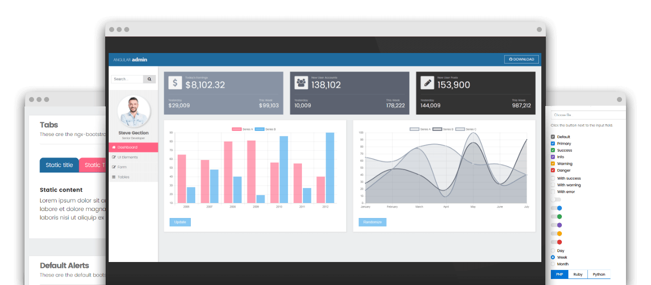 Free Angular admin template