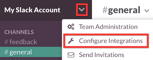 Configure Integrations menu option
