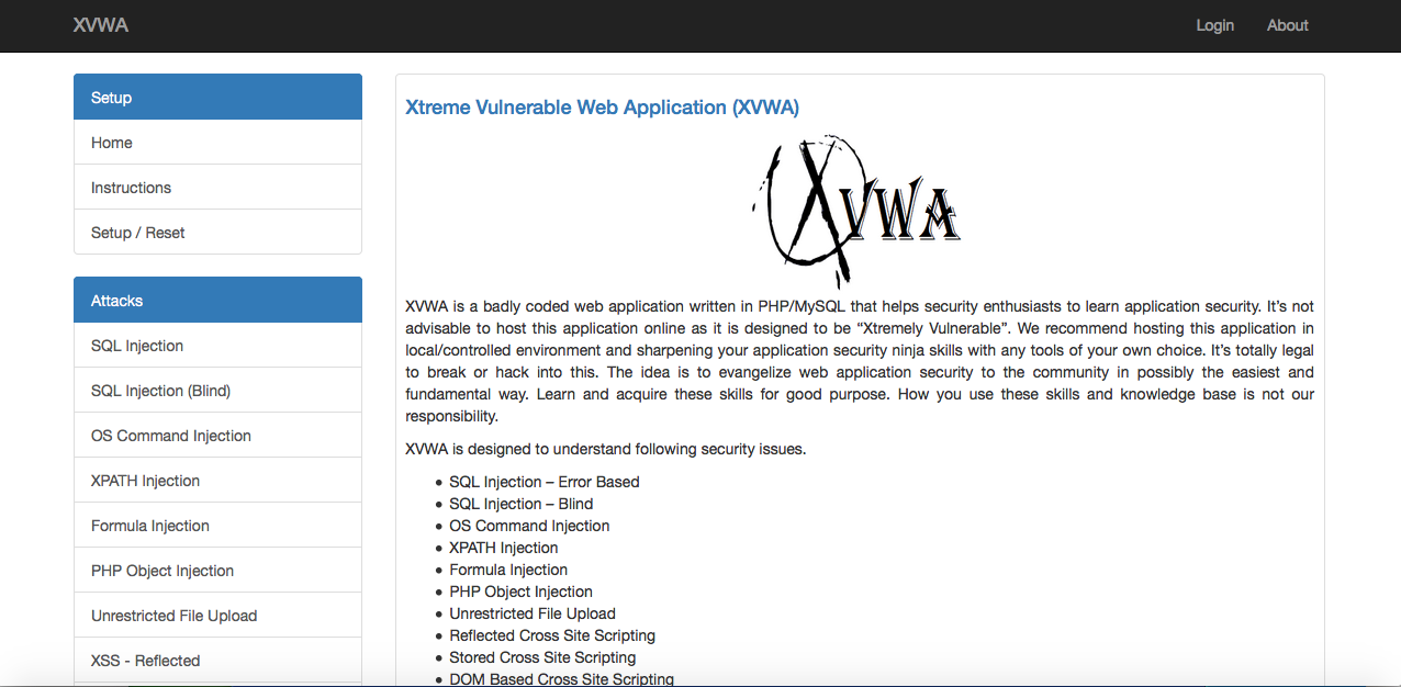 Image of XVWA Home Page