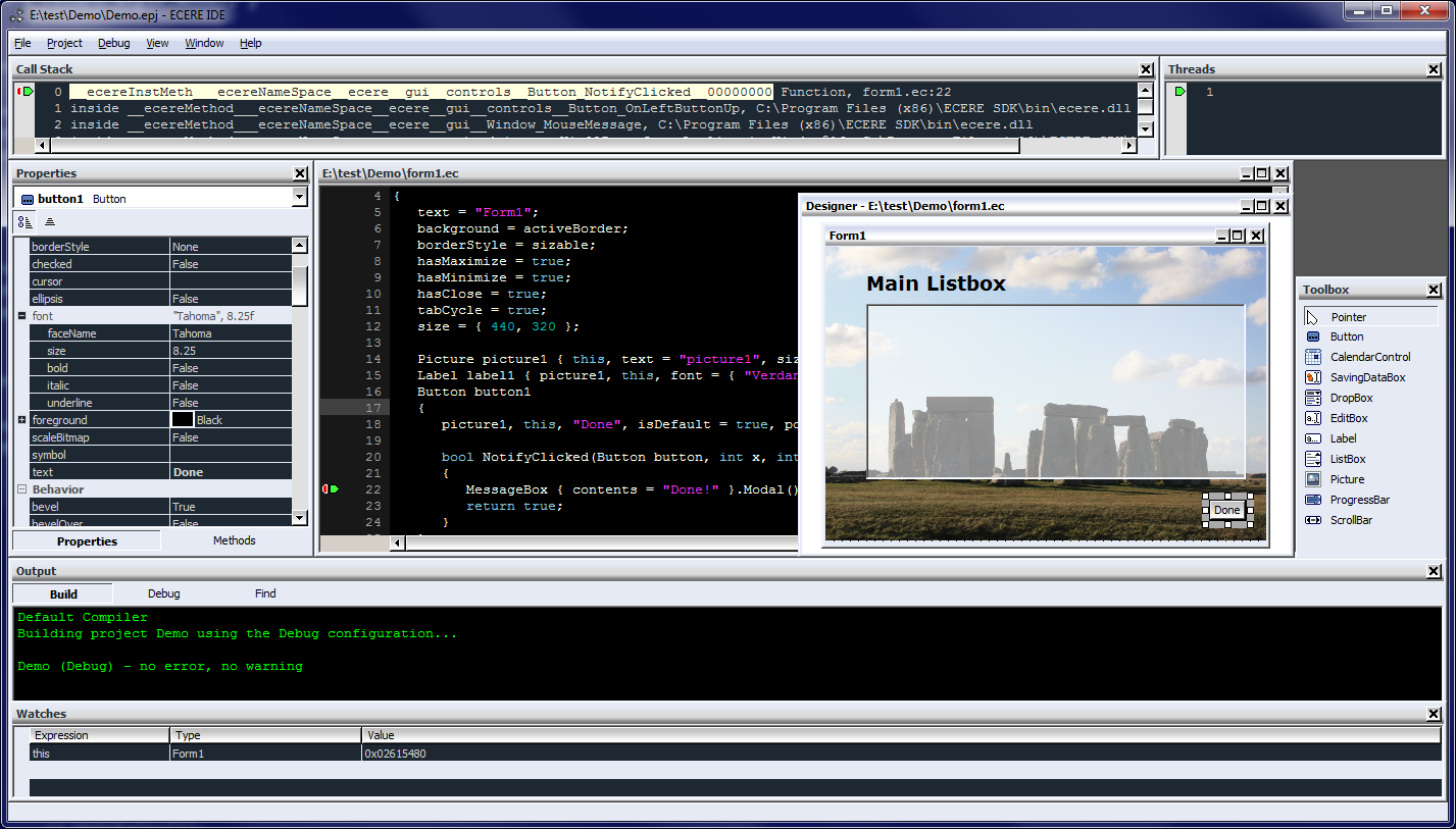 Ecere IDE Screenshot