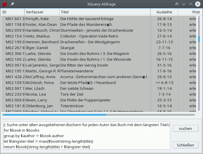 Verwendung von XQuery, um die Bücher mit den längsten Titeln zu finden.