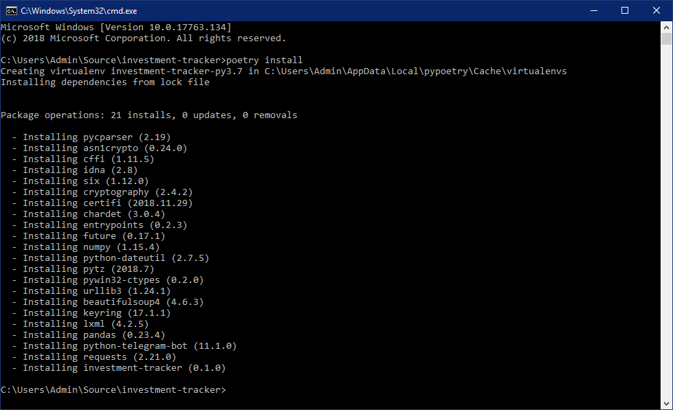 poetry install` installs the project as a dependency of