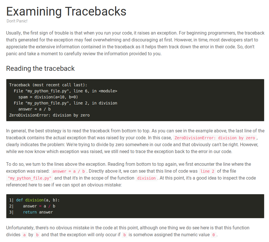 Examining Tracebacks Part I