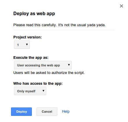 Dialog deploy app