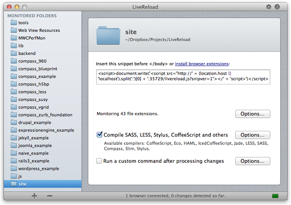 LiveReload screenshot