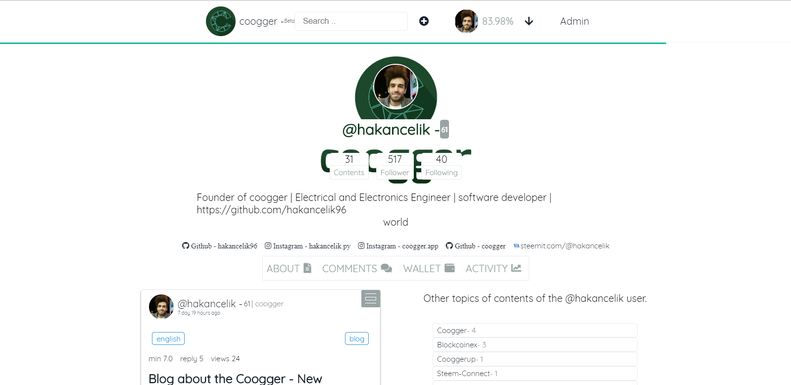 coogger users page