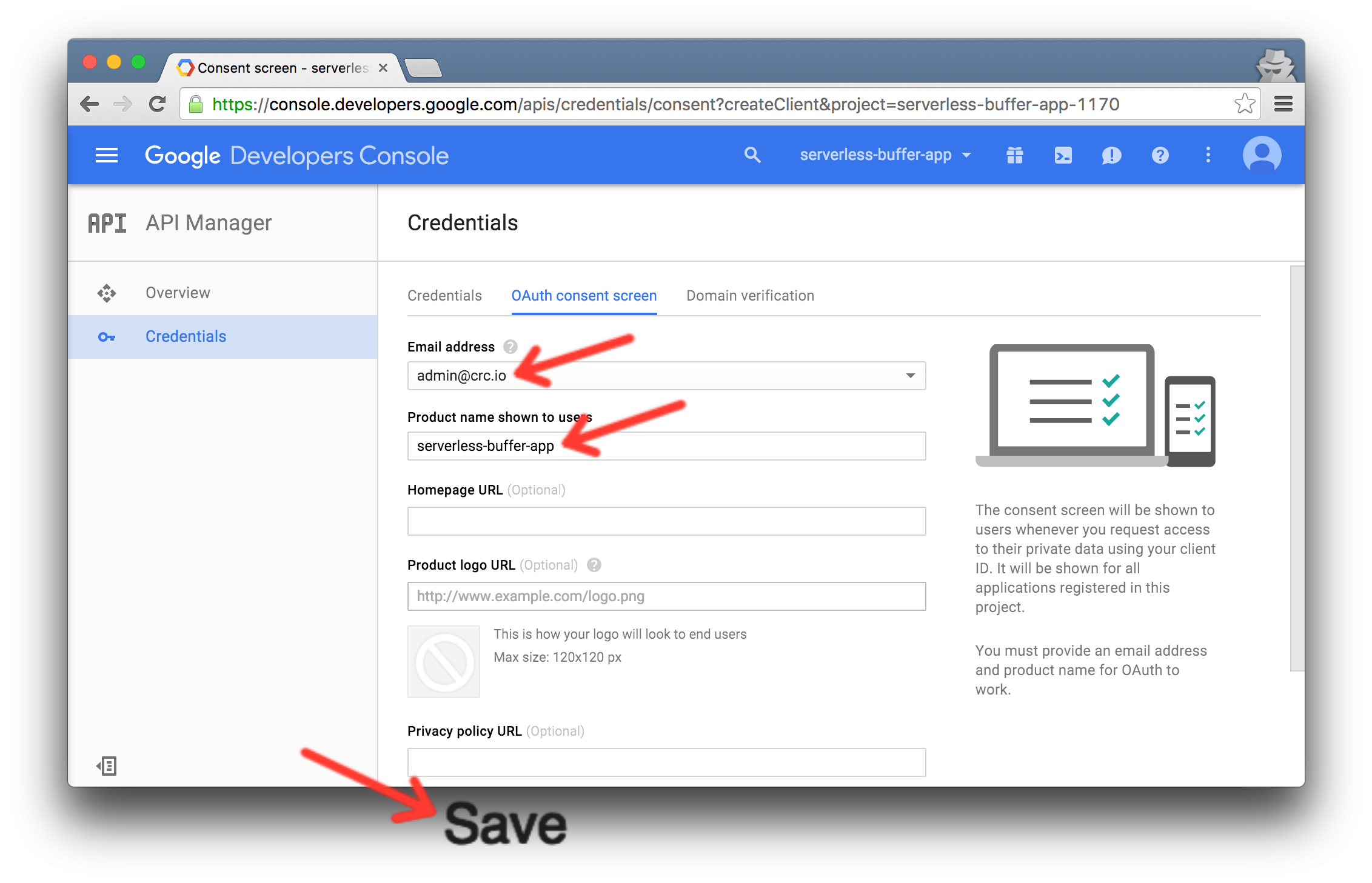 Google OAuth email address and product name
