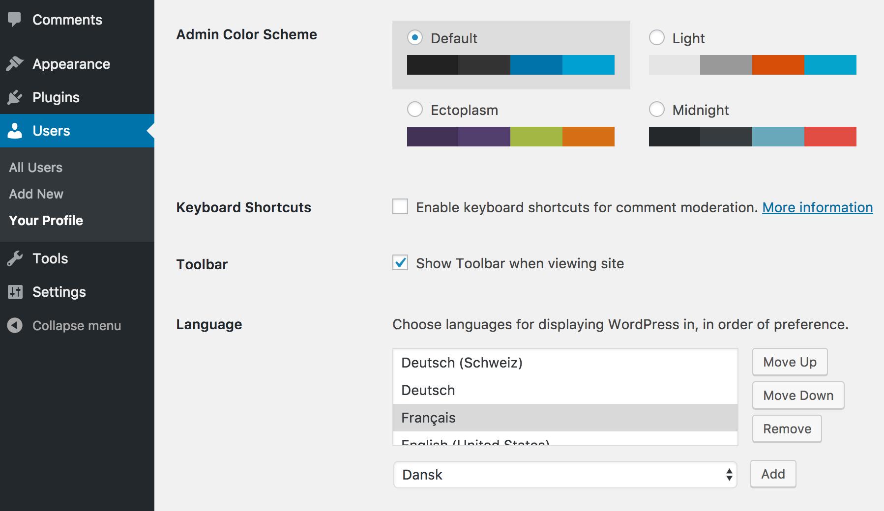 Preferred Languages: User Profile