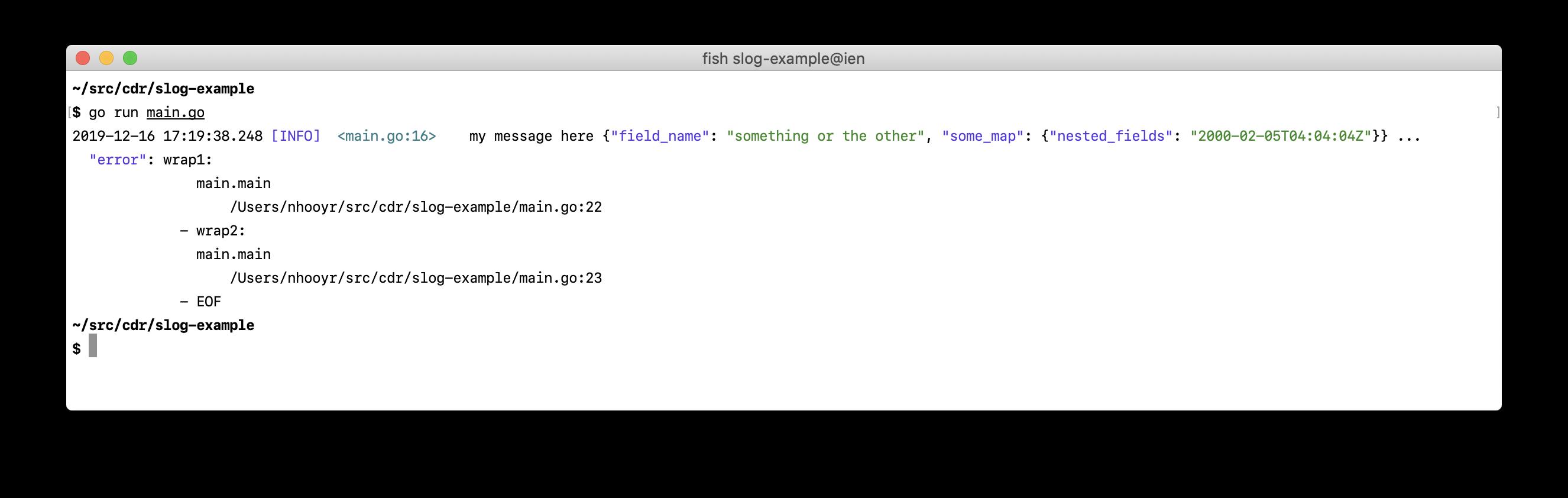 Example output screenshot