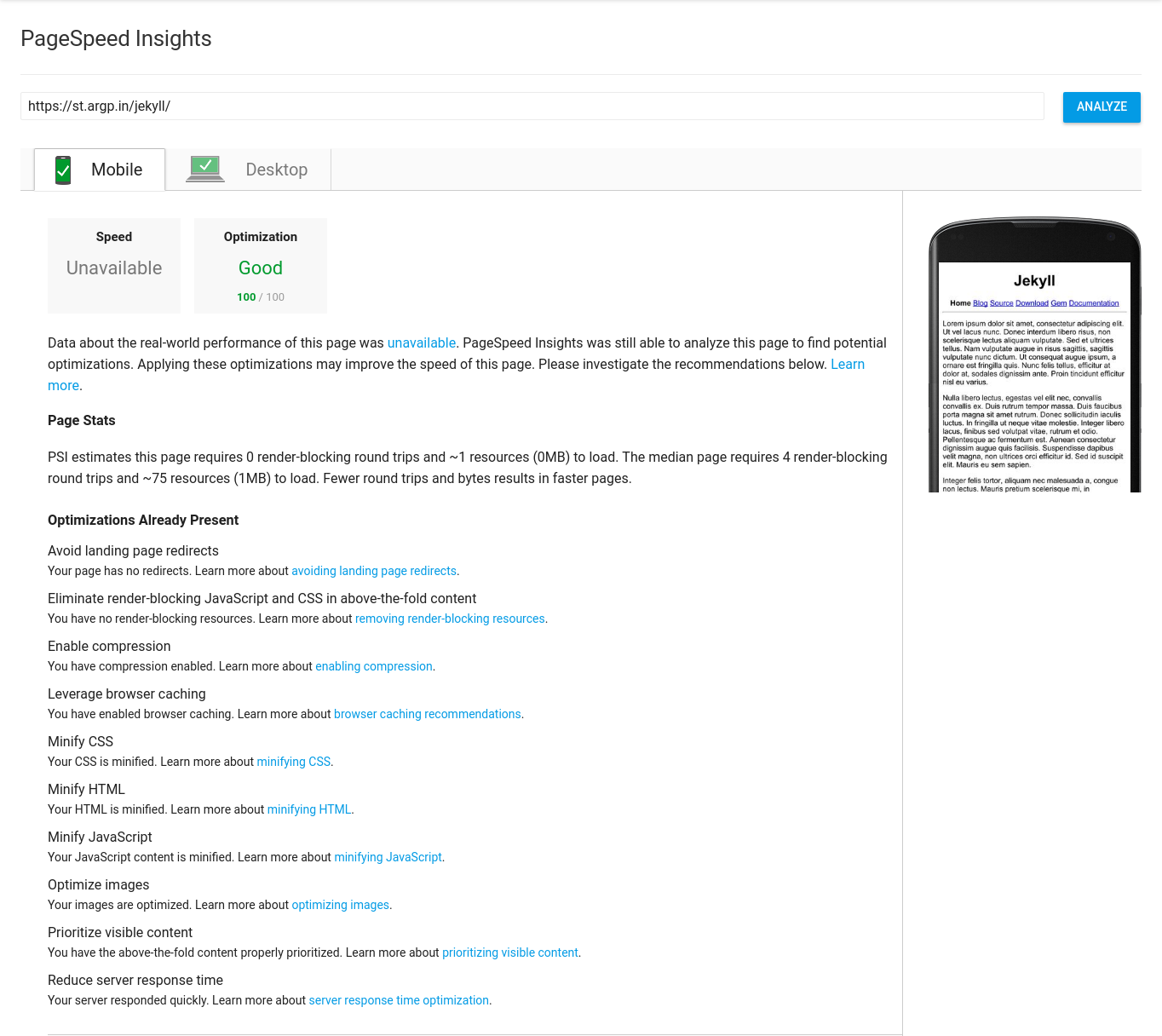 Google Pagespeed Insight Results