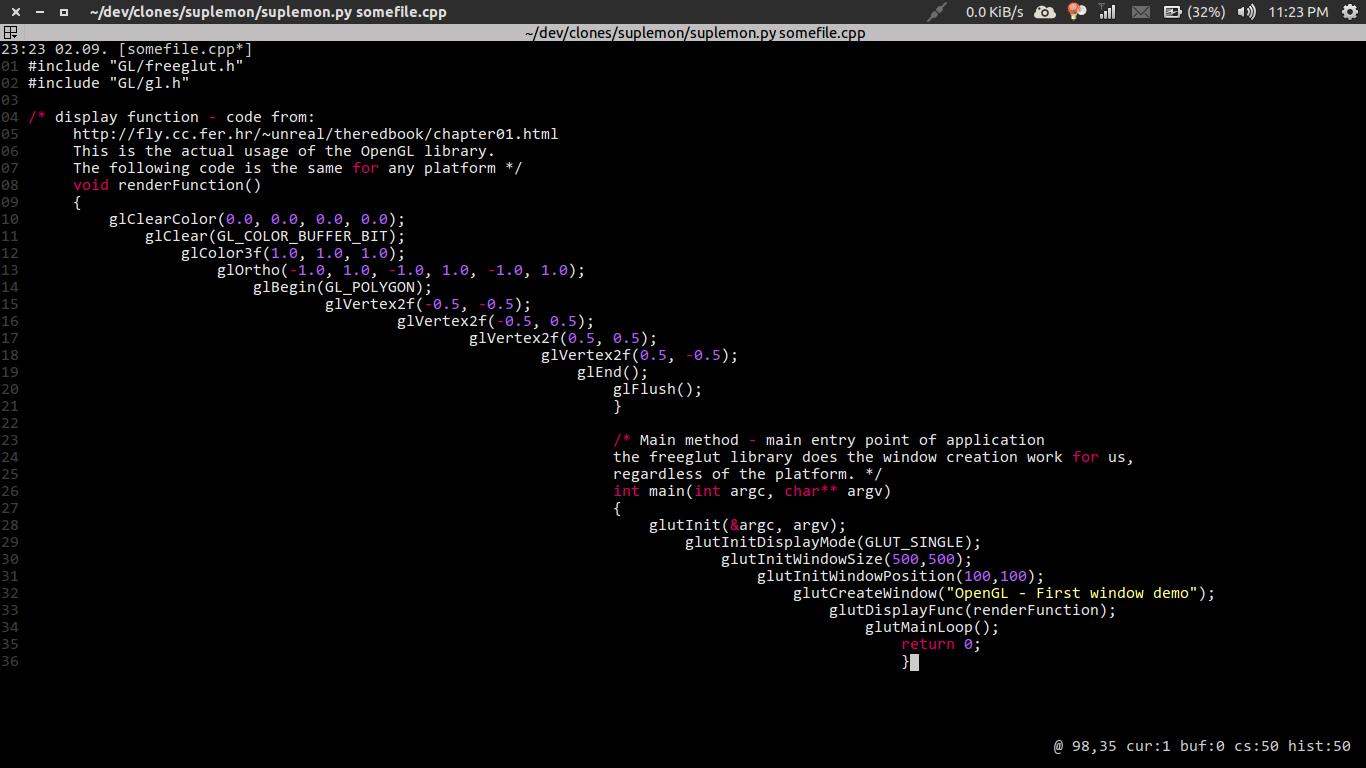 Suplemon text editor screenshot in ubuntu 21.04 Linux | lateweb.info