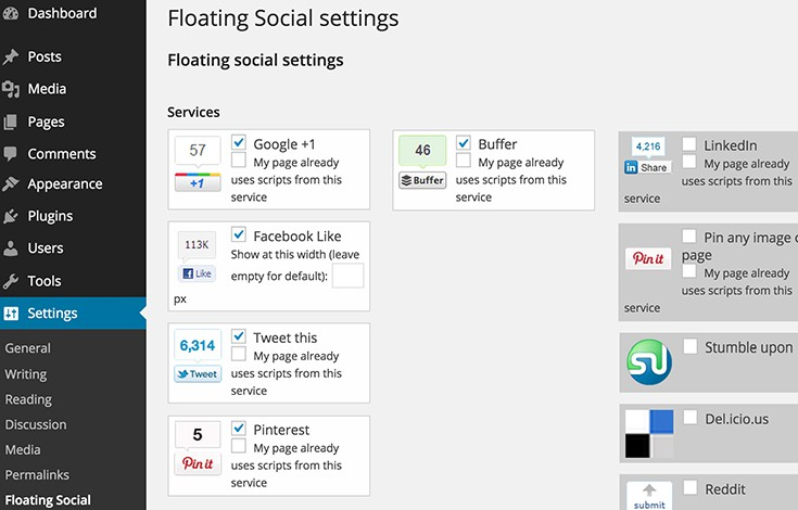 Toggle popular social networks or add your own share links without code.