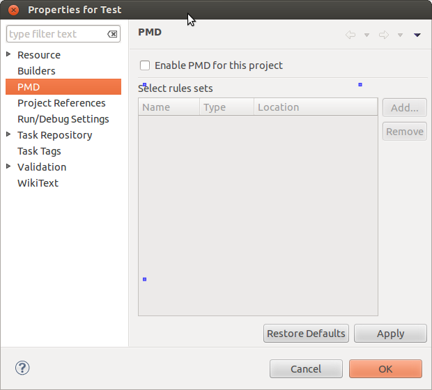 PMD' properties page is not shown · Issue #6 · acanda