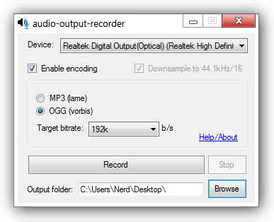 GitHub - mightynerd/audio-output-recorder: Records