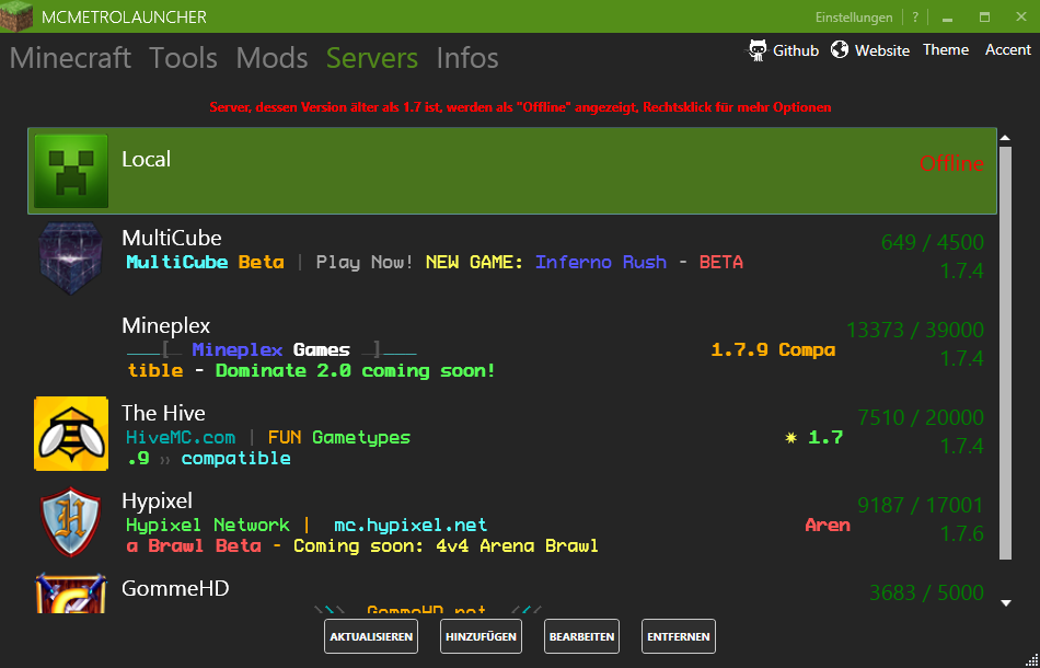 Servers Dark Theme