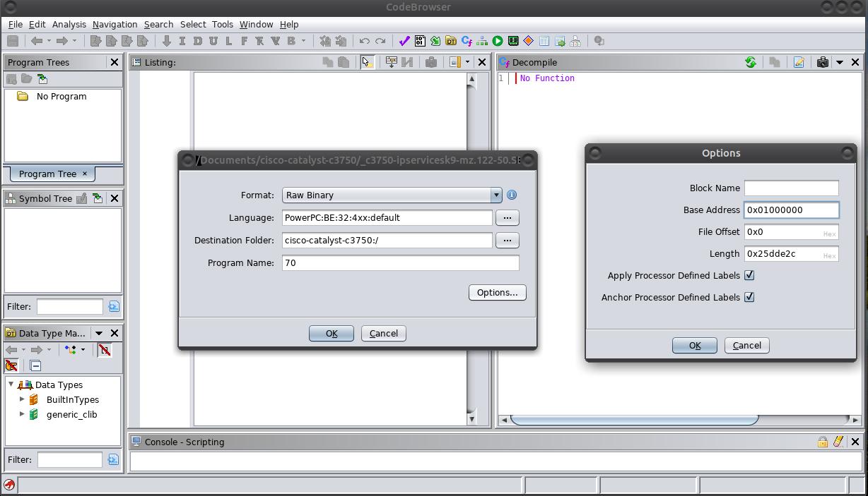 Ghidra File Import Options Screenshot