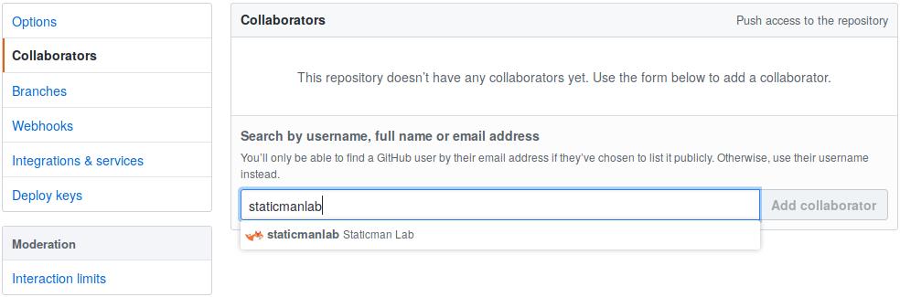 send invitation to Staticman Lab