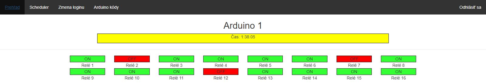 Týždenné relé cez Arduino - webaplikácia