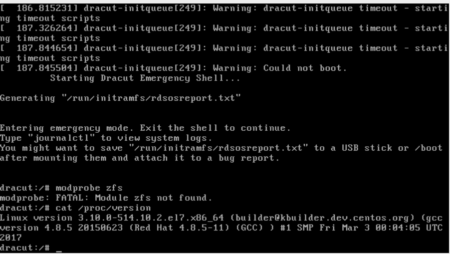 CentsOS 7 not booting after 'yum update' - zfs kernel module missing