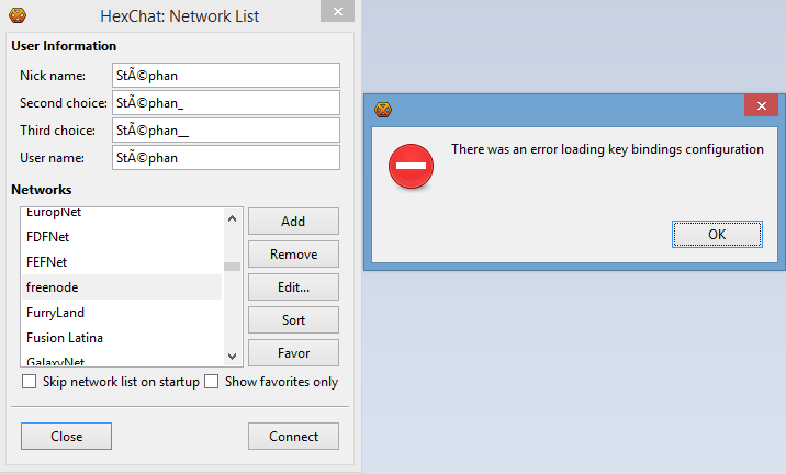 HexChat cannot be configured when Windows User Account name contains