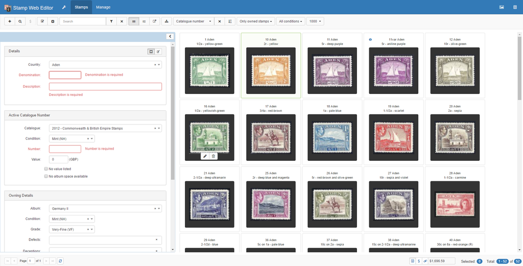 Screen shot showing Editing in Stamp-Web