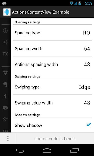 Example application looks on phone