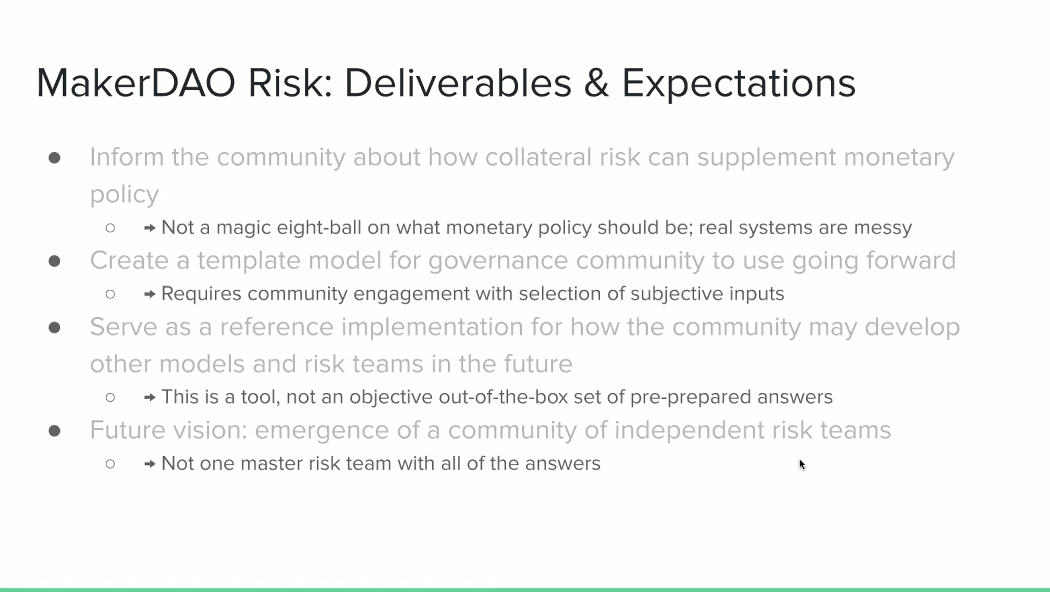 MakerDAO Risk: Deliverables and Expectations