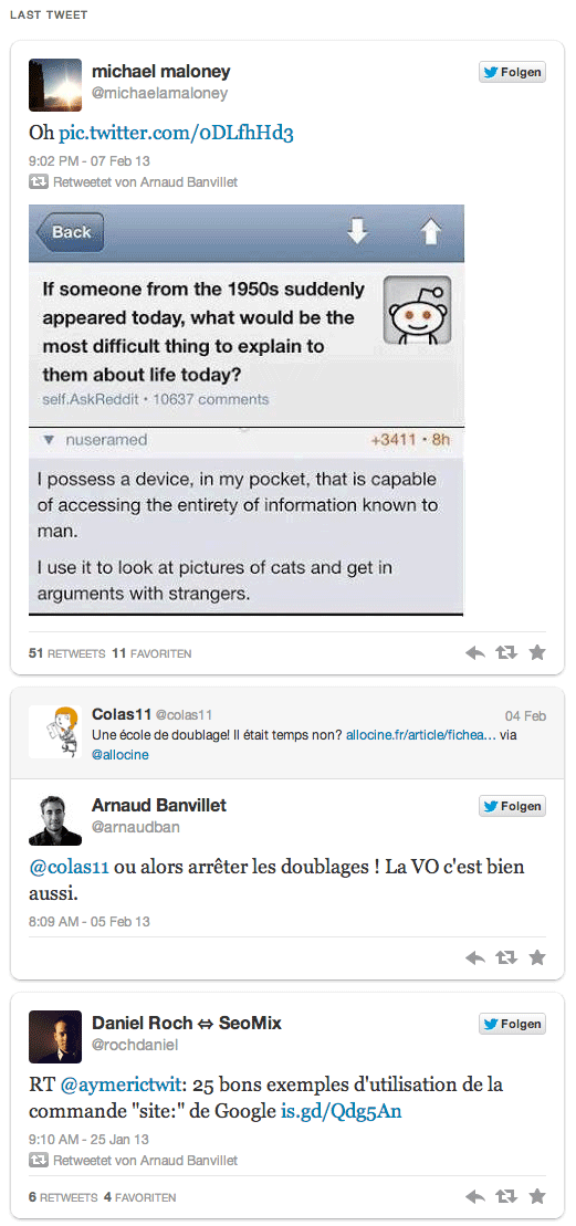 widget embed latest tweets display exemple