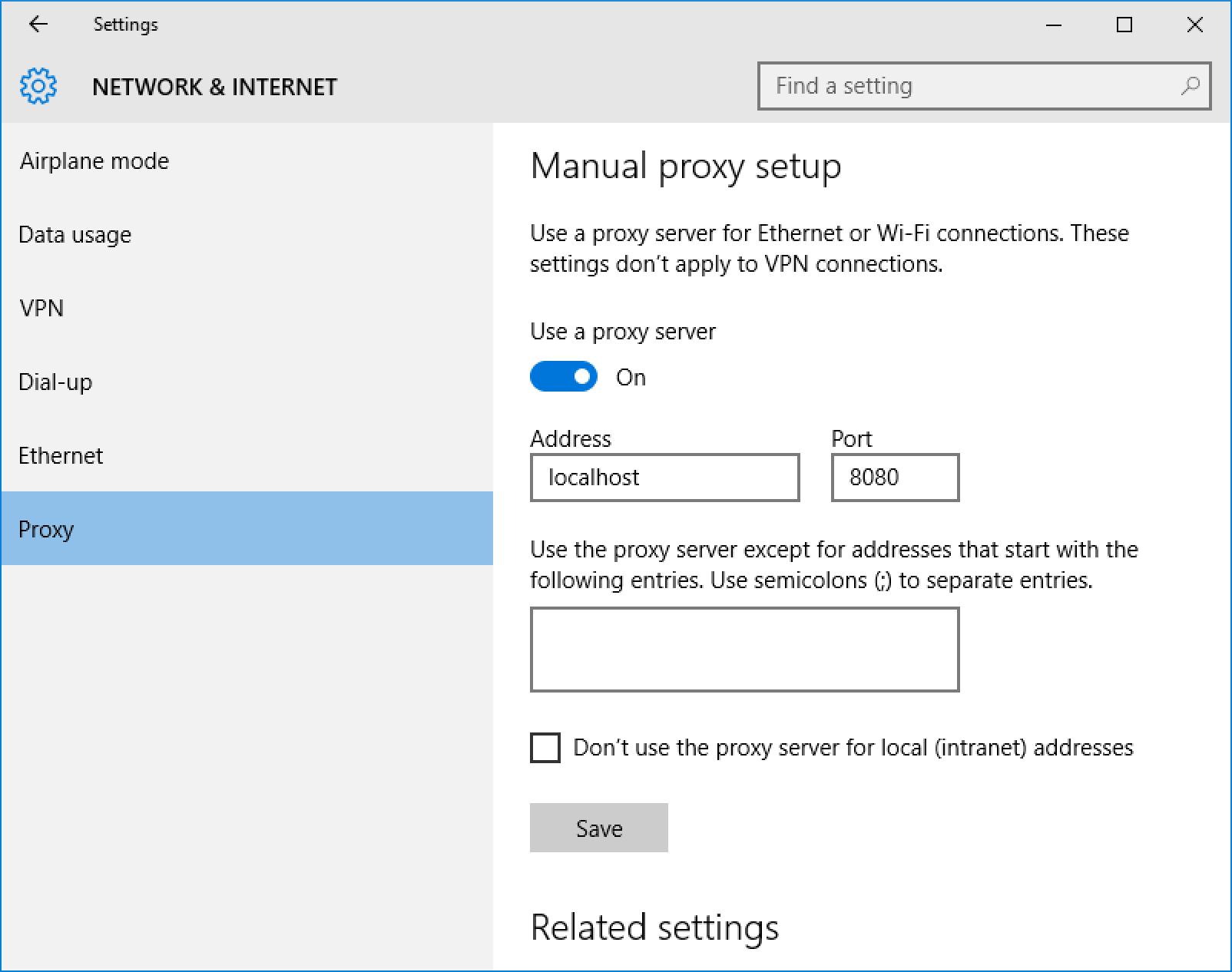 Setting up proxy on Windows 10