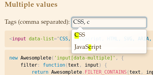 Multiple values example highlights matched chars only the