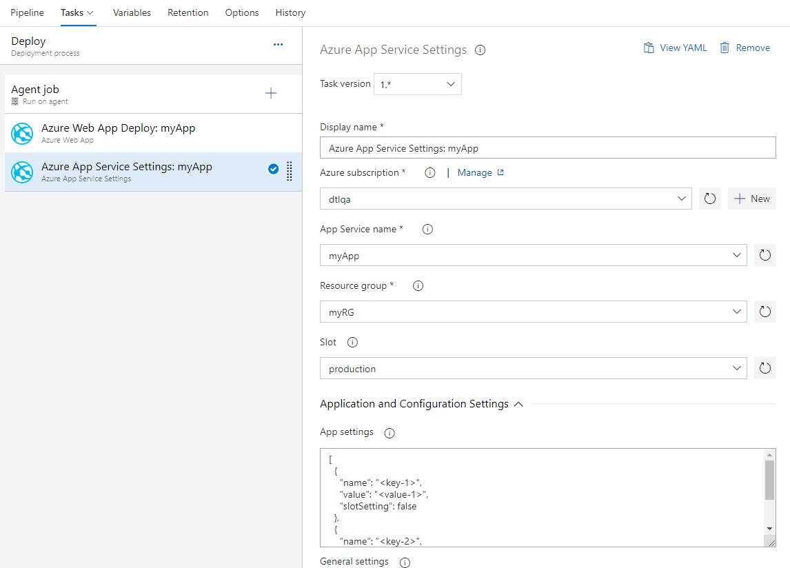 New task for configuring Azure App Service app settings
