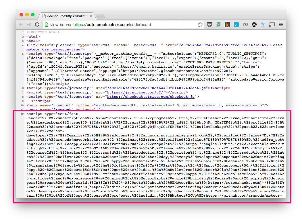 Meteor Subscription Data with Initial HTML