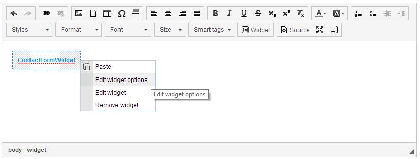 Widget-in-widget context menu