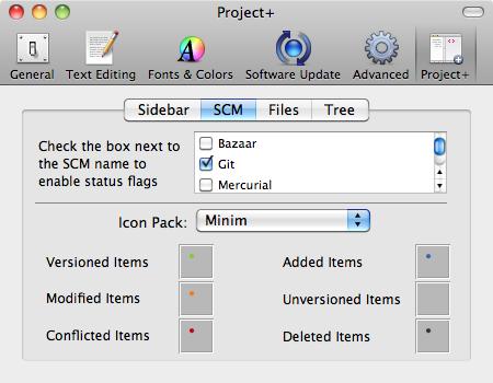 Project+ SCM tab
