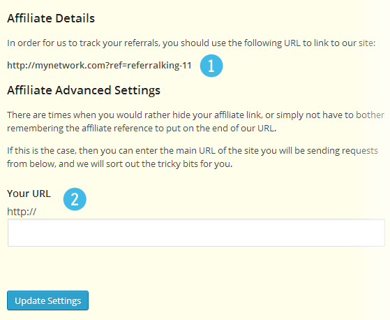 Affiliate referrals - referral code