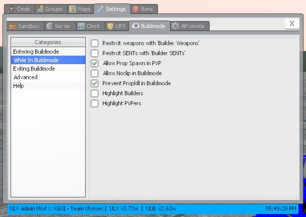 GitHub - kythre/Buildmode-ULX: A better Buildmode