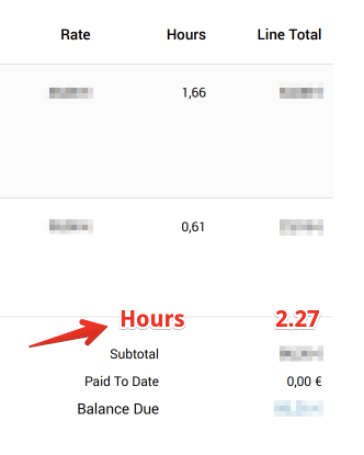 Total of hours in invoice design · Issue #1729