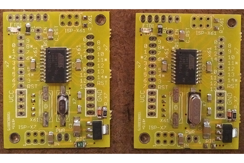Picture of ATTiny167 boards