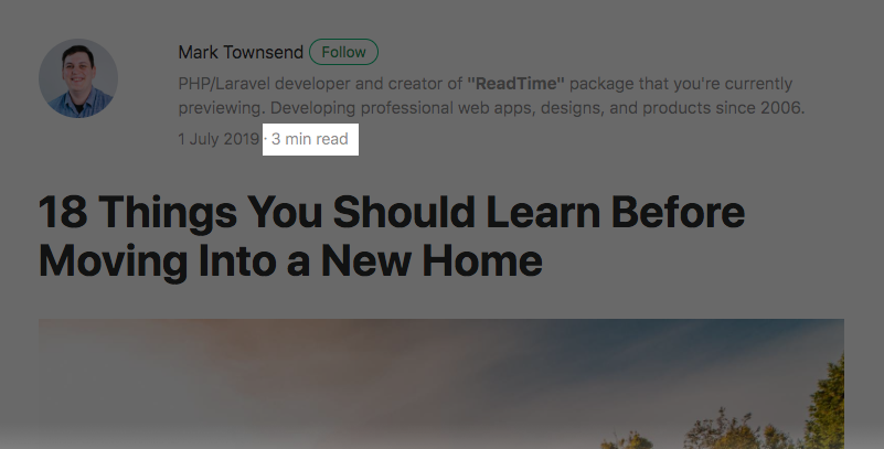 laravel read time package