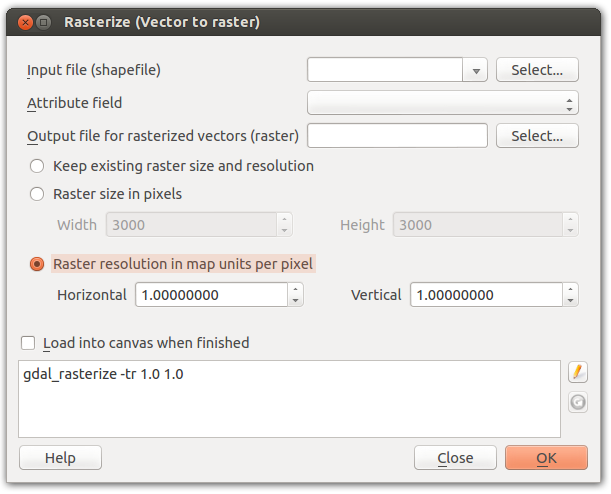 Screenshot of GDAL Rasterize plugin with option to specify resolution