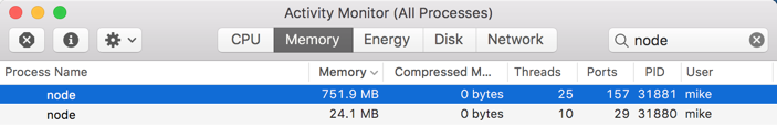 Webpack dev server takes up a lot of memory (751 9MB) for