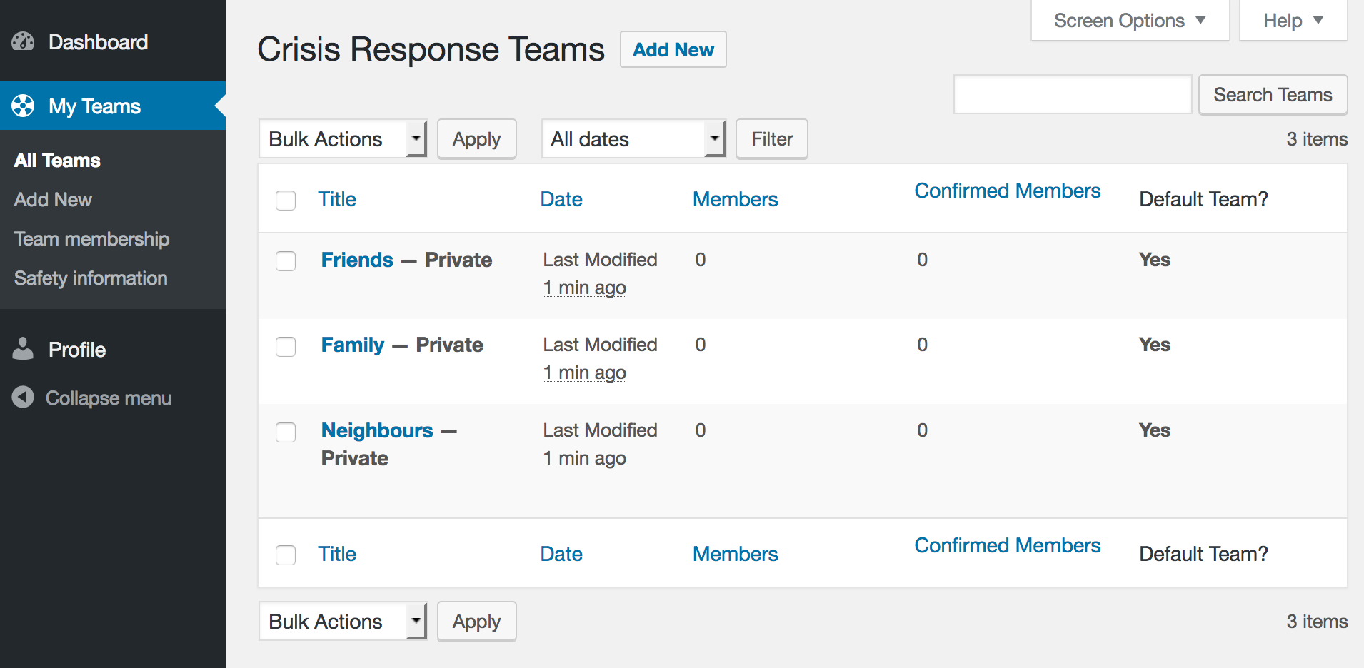 "Screenshot of ""My Teams"" page after registration."