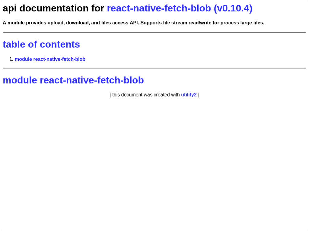 npmtest-react-native-fetch-blob 2017 4 27 on npm - Libraries io