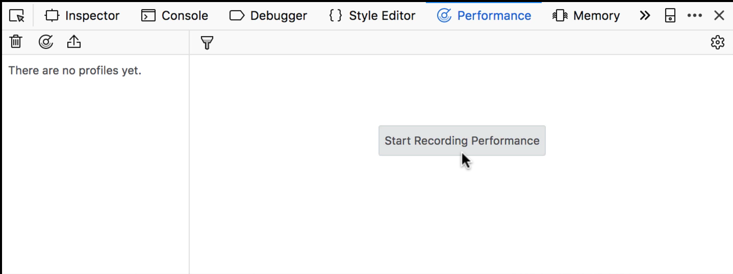 """Start Recording Performance"" button in Firefox"