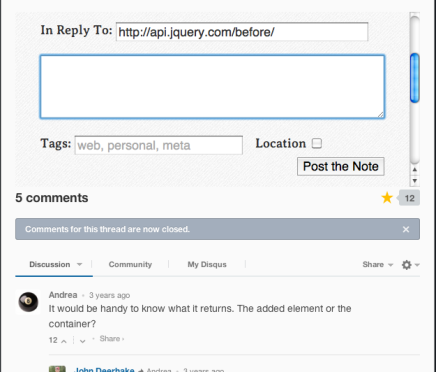 A custom comments box before a Disqus one