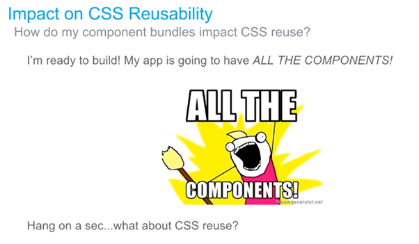This part of the presentation will answer that question about 'how to manage low level CSS reuse across your component library?'