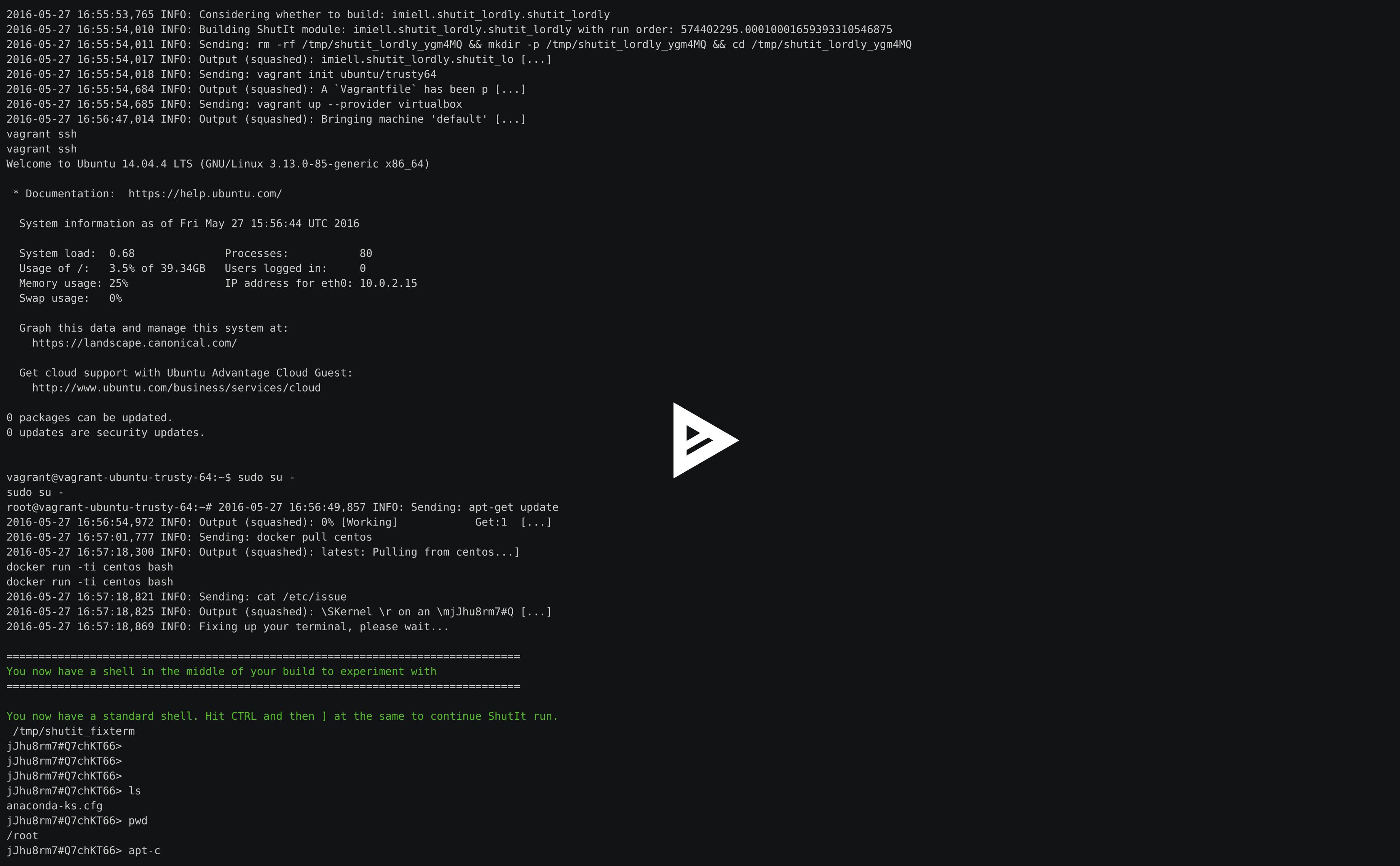 Docker on Ubuntu VM running a CentOS image