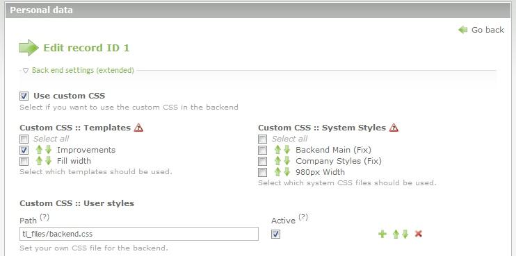 Screenshot: User settings