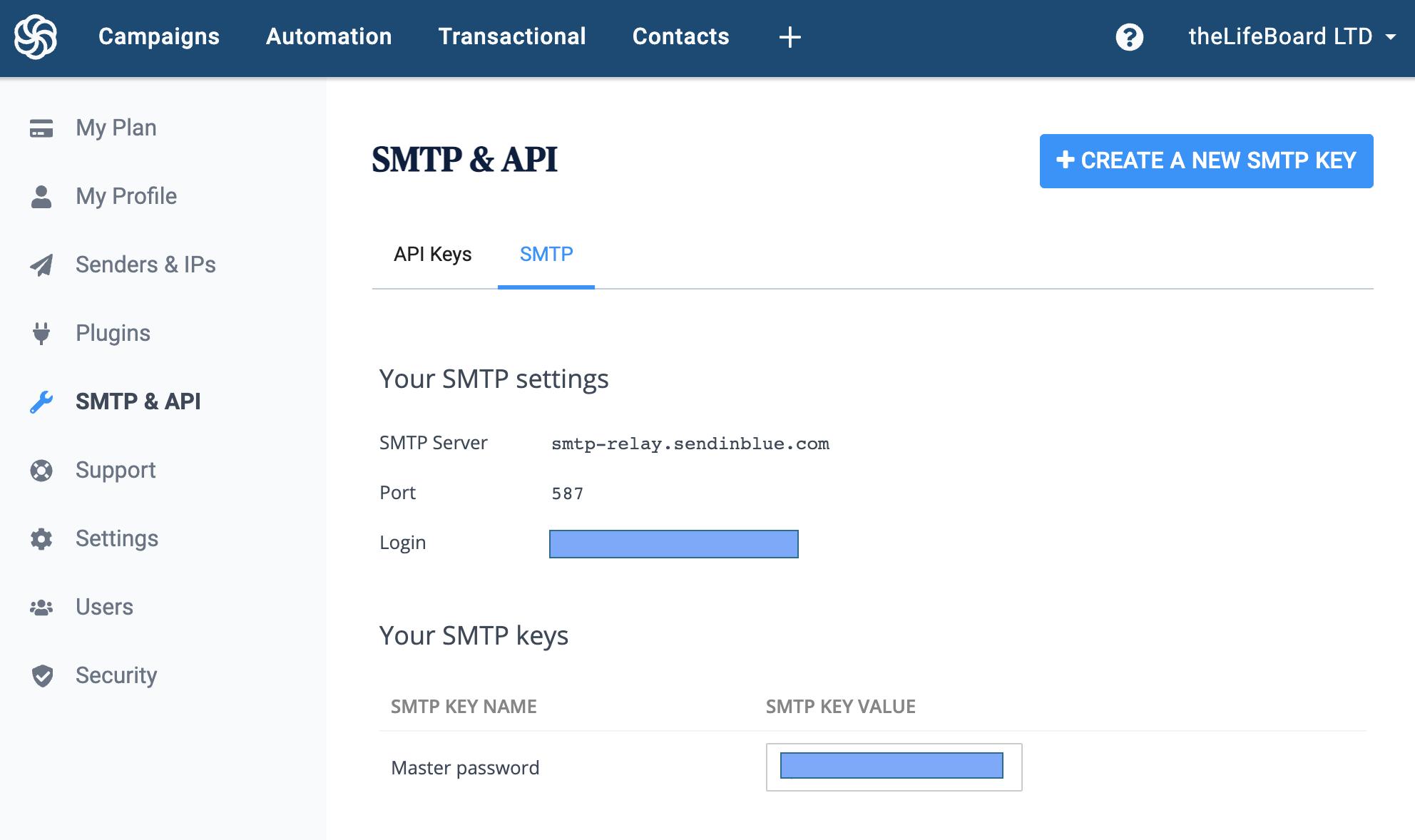 Sendinblue SMTP connection details